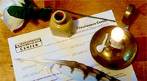 Chautauqua Center Registration Form Scene with Feather, Rose, and Candle